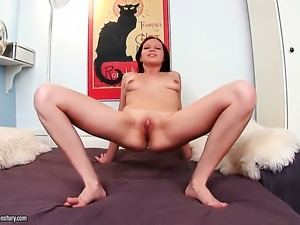 Brunette Valery Von bares it all and then masturbates in closeup