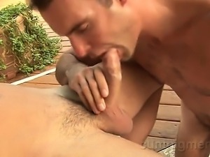 Cameron finds Jack stroking his big cock outside.