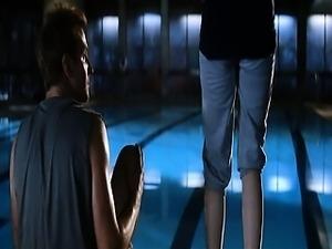 Scarlett Johansson naked treading water, her body obscured
