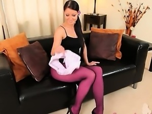 Purple nylon pantyhose on subtle babe