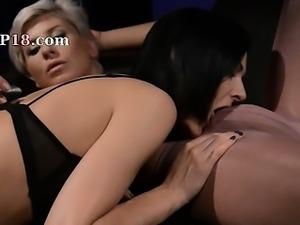 subtle brunette sucking penis of rubber