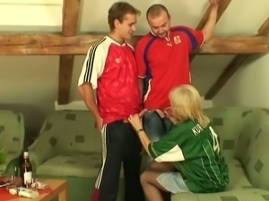 Filthy granny pretends to like football for cock