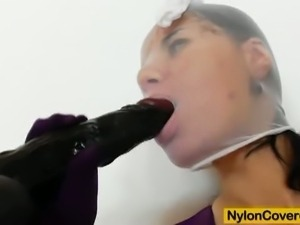 Nylon slut riding big black dildo