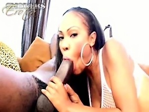 Superb ebony vixen in fishnets Lacey Duvalle smoking with
