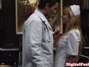 Glamcore nurse cant resist doctors hard cock after he eats her out