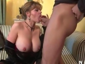 Big boobed french mature in black stockings hard fucked
