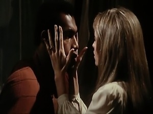 Susan George dropping her dress and touching a guy and