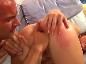 Baldheaded man is spending great time with nasty bitch. He starts with...