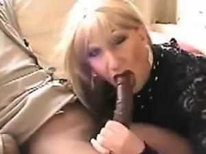 Blonde Shemale Sucking Black Cock