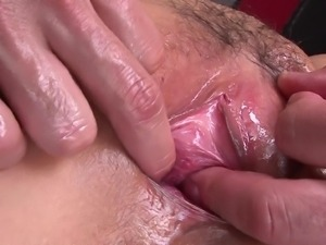 oiled up milf gets fingered