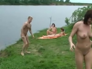 Swinger babes walk around naked