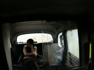 Big tits British babe fucked in fake taxi