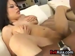 Sexy Asian girl with an awesome body fucking some black cock