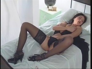 Veronika Zemanova Big Tits in Sexy Black Lingerie High Heel Masturbate