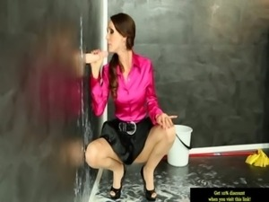 Solo euro bukkake babe at gloryhole getting facials free