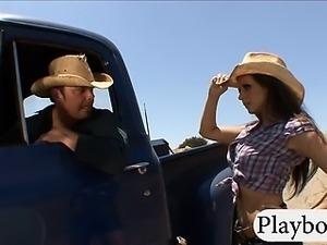 Busty slut Rachel Roxxx hitch hikes and fucked in public