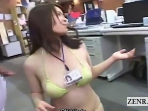 Subtitled Japanese office string bikini cumshot race
