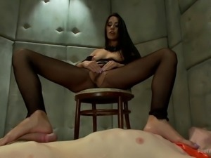 she dominates him with her feet