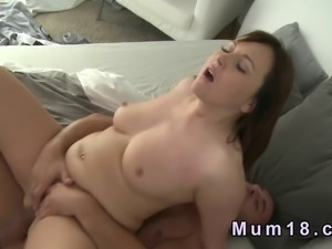 Baldheaded guy bangs natural busty milf