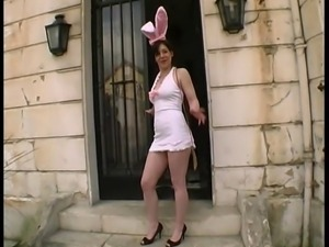 Lea came in a nice Bunny uniform to get gangbanged by few dudes..