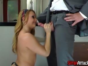 Femdom mistress mouth fucks pathetic victim with strapon