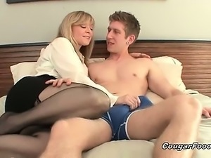 Amazing blonde MILF slut with big tits and sexy body looks