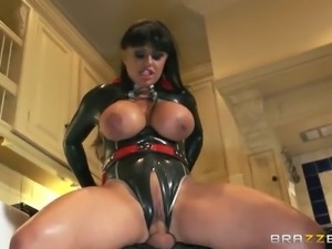 Busty and tattooed brunette rides a hard cock