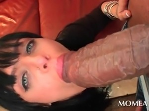 Kinky curvy brunette mouth fucking and deep throating fat huge pecker