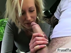 Sultry amateur banged and cum facialed by fake driver