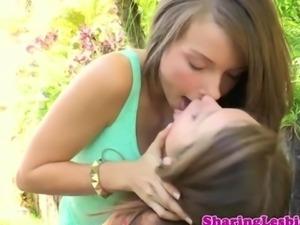 Pretty lesbian masturbates her friend