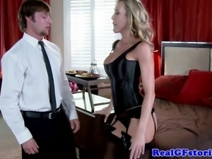 Busty MILF girlfriend blows delivery guy in hotel room after tying up her man