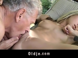 Young nasty blonde seduces and fucks grandpa
