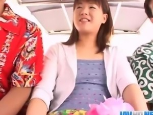 Innocent looking Japanese babe nailed in a public threesome