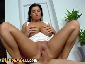 Big assed busty babe loves riding dick