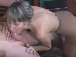 Hot secretary rides her boss's dick in pantyhose