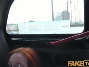 FakeTaxi - Elegant ginger women fucks driver