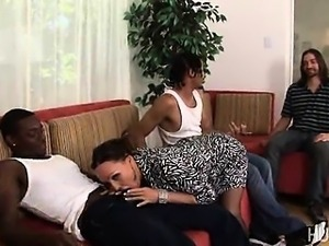 Wife fucked by two black cocks while he watches