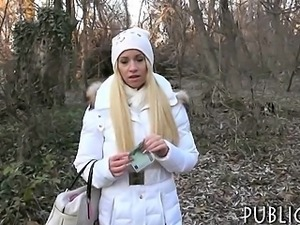 Czech girl flashes her tits and fucked in the woods
