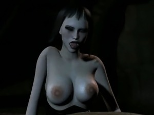 3D cartoon orc gets fucked by a babe with a strap on
