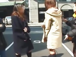 Amateur Japanese teens flash on the streets of Tokyo uncensored