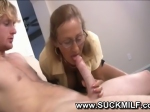 Horny cougar granny sucks young guy