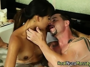 Asian massage slut sucks