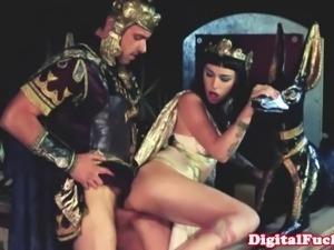 Glamcore princess sprayed with cum after a deep dicking