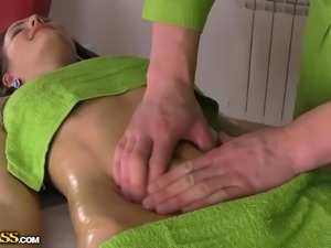 oiled and slippery she received the massage she deserved
