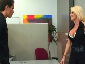 Holly has to check if this men has it to get up in the company so she wants...