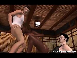 Sexy 3D ebony babe sucks cock and gets fucked hard