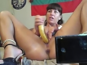 Bulgarian whore mastrubate banan in ass and pussy