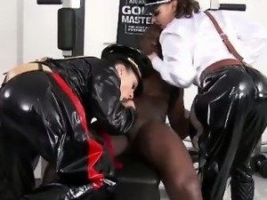 Mistresses get cumshot tugging