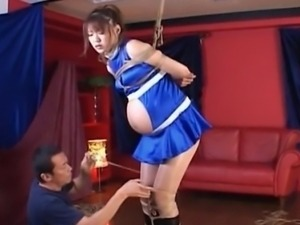 Pregnant asian redhead sex slave gets roped and sexually teased