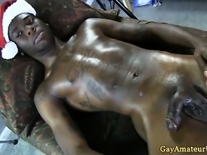 Straight black guy shows cum filled body